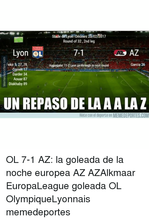 Memes, Leggings, and 🤖: Stade de Ayon Décines 23/02/2017  Round of 32,2nd leg  Lyon OL  7-1  AZ  Fekit 5, 27, 78  Garcia 26  Aggregate 1124ongo through to nertround  Cornet 1  Darder 34  Aouar 87  Diakhaby 89  UN REPASO DE LA AALA  Riete con el deporte en MEMEDEPORTES.COM OL 7-1 AZ: la goleada de la noche europea AZ AZAlkmaar EuropaLeague goleada OL OlympiqueLyonnais memedeportes
