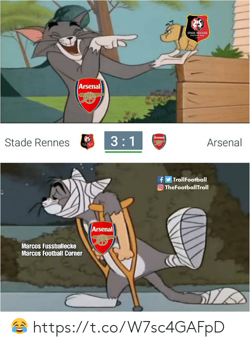 Arsenal, Club, and Football: STADE RENNAIS  FOOTBALL CLUB  Arsenal  Stade Rennes  Arsenal  TrollFootball  TheFootballTroll  Arsenal  Marcos Fussballecke  Marcos Football Corner 😂 https://t.co/W7sc4GAFpD
