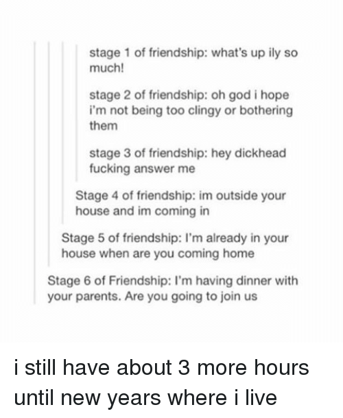Fucking, God, and New Year's: stage 1 of friendship: what's up ily so  much!  stage 2 of friendship: oh god i hope  i'm not being too clingy or bothering  them  stage 3 of friendship: hey dickhead  fucking answer me  Stage 4 of friendship: im outside your  house and im coming in  Stage 5 of friendship: l'm already in your  house when are you coming home  Stage 6 of Friendship: l'm having dinner with  your parents. Are you going to join us i still have about 3 more hours until new years where i live