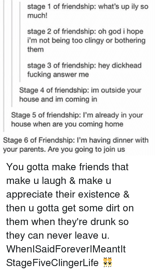 Drunk, Friends, and Fucking: stage 1 of friendship: what's up ily so  much!  stage 2 of friendship: oh god i hope  i'm not being too clingy or bothering  them  stage 3 of friendship: hey dickhead  fucking answer me  Stage 4 of friendship: im outside your  house and im coming in  Stage 5 of friendship: l'm already in your  house when are you coming home  Stage 6 of Friendship: I'm having dinner with  your parents. Are you going to join us You gotta make friends that make u laugh & make u appreciate their existence & then u gotta get some dirt on them when they're drunk so they can never leave u. WhenISaidForeverIMeantIt StageFiveClingerLife 👯