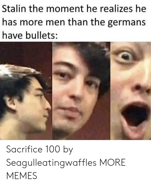 stalin: Stalin the moment he realizes he  has more men than the germans  have bullets: Sacrifice 100 by Seagulleatingwaffles MORE MEMES
