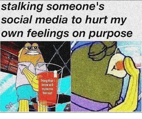 Social Media, Stalking, and Sad: stalking someone's  social media to hurt my  own feelings on purpose  Thing that i  know will  make me  feel sad  IT
