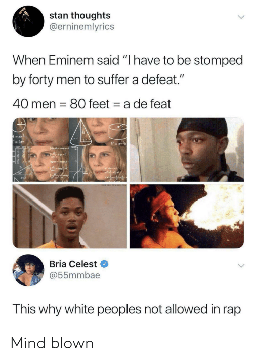 "Eminem, Rap, and Stan: stan thoughts  @erninemlyrics  When Eminem said ""I have to be stomped  by forty men to suffer a defeat.""  40 men 80 feet a de feat  A=aY  C=2Tr  V= xT2h  Jsimxdcosx+  +C  CO  JgdsIncos+  dIntoC  sin x  30  arcig  OOWEEE TOMBER.COM  Bria Celest  @55mmbae  This why white peoples not allowed in rap Mind blown"