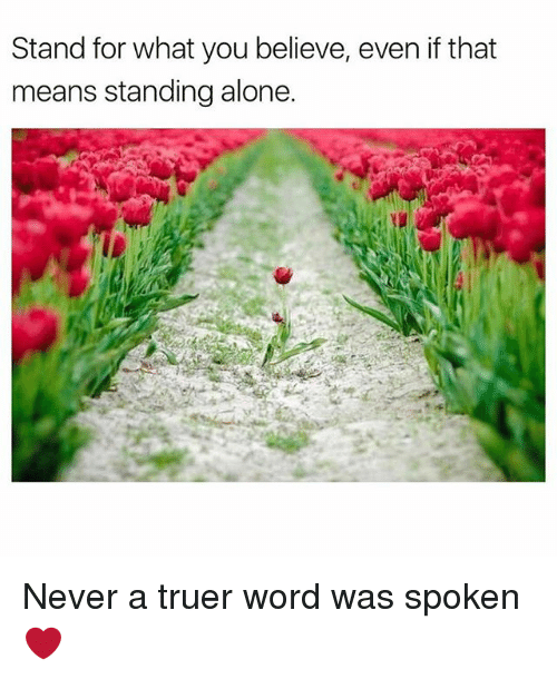 Being Alone, Memes, and Word: Stand for what you believe, even if that  means standing alone. Never a truer word was spoken ❤