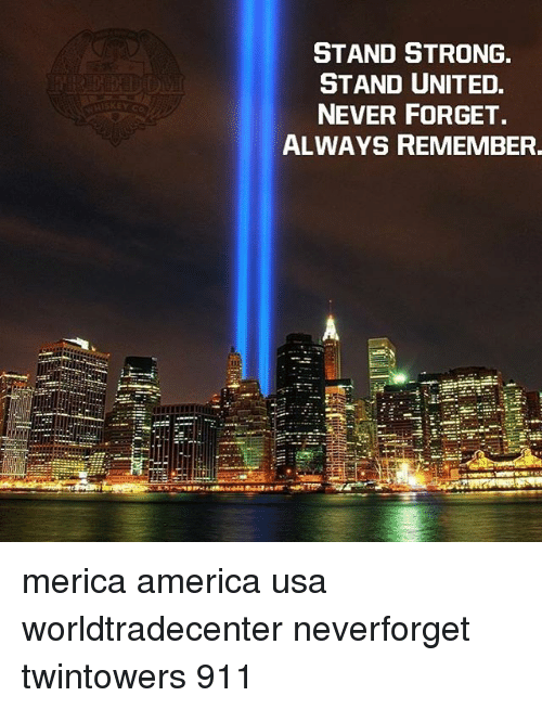 Forgetfulness: STAND STRONG  STAND UNITED.  NEVER FORGET.  ALWAYS REMEMBER. merica america usa worldtradecenter neverforget twintowers 911