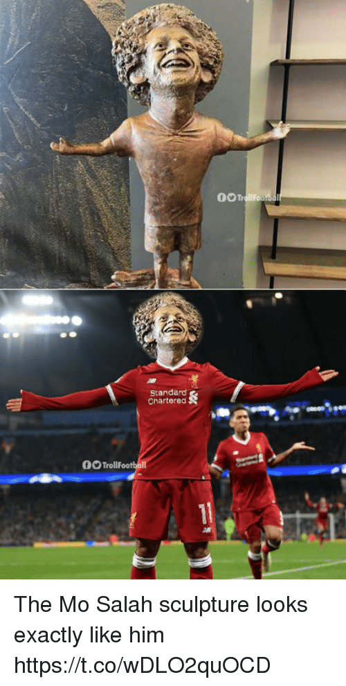 Memes, 🤖, and Him: Standard  Chartered  OOTrollf The Mo Salah sculpture looks exactly like him https://t.co/wDLO2quOCD
