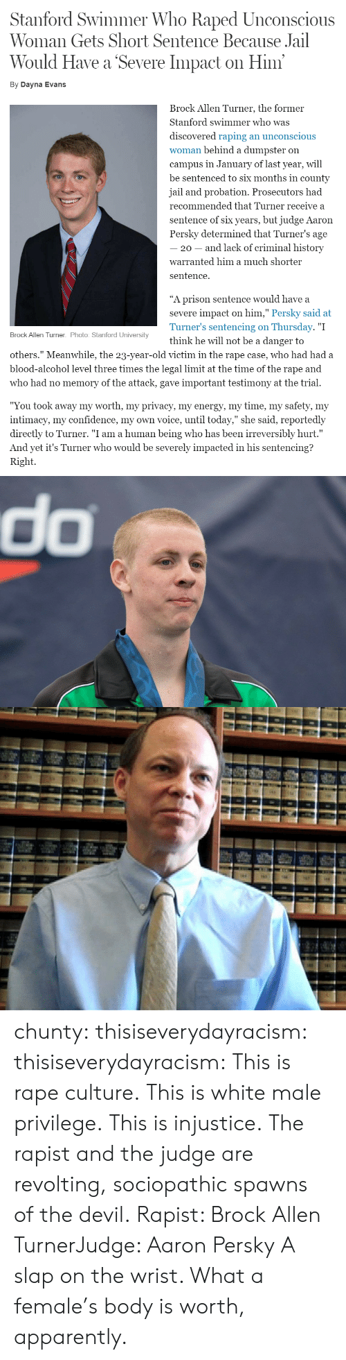 "Apparently, Confidence, and Jail: Stanford Swimmer Who Raped Unconscious  Woman Gets Short Sentence Because Jail  Would Have a Severe Impact on Him  By Dayna Evans  Brock Allen Turner, the former  Stanford swimmer who was  discovered raping an unconscious  woman behind a dumpster on  campus in January of last year, will  be sentenced to six months in county  jail and probation. Prosecutors had  recommended that Turner receive a  sentence of six years, but judge Aaron  Persky determined that Turner's age  20 - and lack of criminal history  warranted him a much shorter  sentence.  ""A prison sentence would have a  severe impact on him,"" Persky said at  Turner's sentencing on Thursday. ""I  think he will not be a danger to  Brock Allen Turner. Photo: Stanford University  others."" Meanwhile, the 23-year-old victim in the rape case, who had had a  blood-alcohol level three times the legal limit at the time of the rape and  who had no memory of the attack, gave important testimony at the trial.  ""You took away my worth, my privacv, my energv, my time, my safetv, my  intimacy, my confidence, my own voice, until today,"" she said, reportedly  directly to Turner. ""I am a human being who has been irreversibly hurt.""  And yet it's Turner who would be severely impacted in his sentencing?  Right.   do chunty:  thisiseverydayracism:  thisiseverydayracism:  This is rape culture.  This is white male privilege.  This is injustice.  The rapist and the judge are revolting, sociopathic spawns of the devil.  Rapist: Brock Allen TurnerJudge: Aaron Persky  A slap on the wrist. What a female's body is worth, apparently."