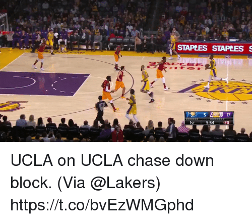 Los Angeles Lakers, Memes, and Chase: STAPEES STAPLESS  PCES  157-  5:54:20 UCLA on UCLA chase down block.  (Via @Lakers)  https://t.co/bvEzWMGphd