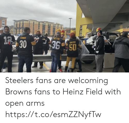 Football, Nfl, and Sports: Starkisg  GHYATT PLACE  BETTIS  12  CONNER  36 50  SHAZIER  30 Steelers fans are welcoming Browns fans to Heinz Field with open arms  https://t.co/esmZZNyfTw