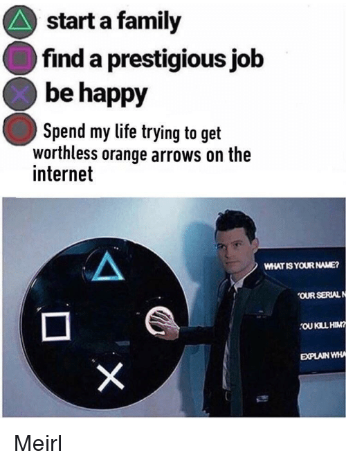 Family, Internet, and Life: start a family  find a prestigious job  be happy  Spend my life trying to get  worthless orange arrows on the  internet  WHAT IS YOUR NAME?  OUR SERIAL N  OU KILL HIM  EXPLAIN WHA Meirl
