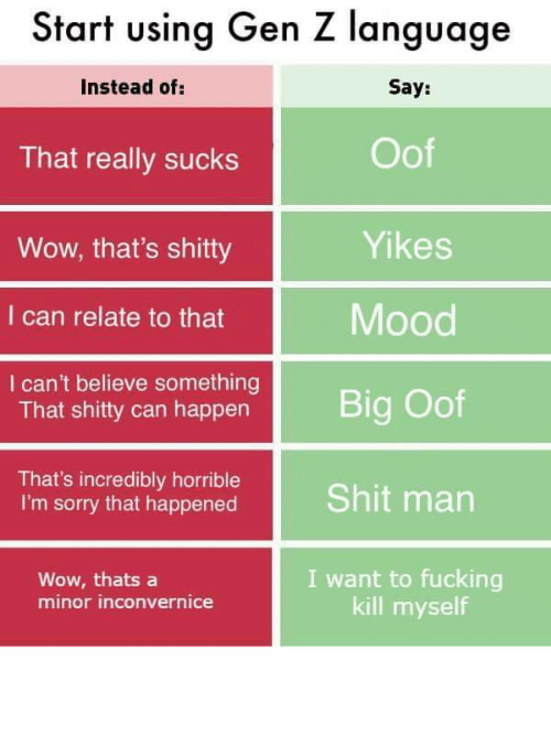 Fucking, Mood, and Shit: Start using Gen Z language  Say:  Instead of:  Oof  That really sucks  Yikes  Wow, that's shitty  Mood  I can relate to that  I can't believe something  That shitty can happen  Big Oof  That's incredibly horrible  I'm sorry that happened  Shit man  I want to fucking  kill myself  Wow, thats a  minor inconvernice
