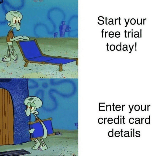 Free, Today, and Credit Card: Start your  free trial  today!  Enter your  credit card  details