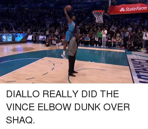 State Farm: State Farm  SLAM DIALLO REALLY DID THE VINCE ELBOW DUNK OVER SHAQ.