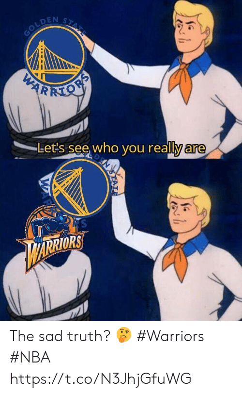 Nba, Warriors, and Sad: STATE  GOLDEN  PARKMON  Let's see who you really are  N  RS  ARRIORS  STAT  WAR The sad truth? 🤔  #Warriors #NBA https://t.co/N3JhjGfuWG