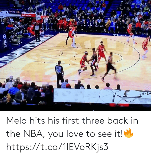 Love, Memes, and Nba: Statefarm  Se  a Melo hits his first three back in the NBA, you love to see it!🔥 https://t.co/1IEVoRKjs3
