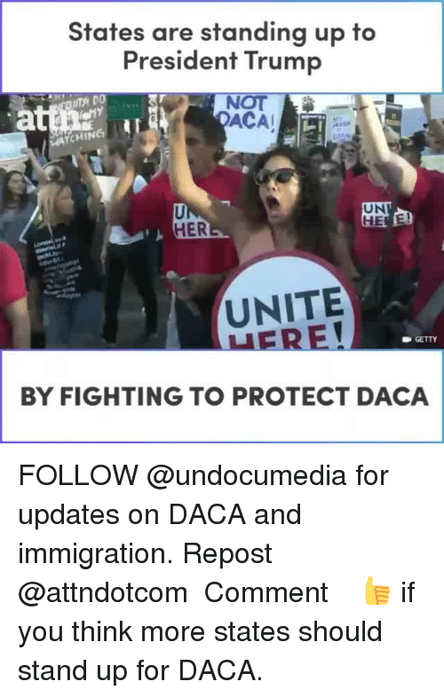 Memes, Immigration, and Trump: States are standing up to  President Trump  NOT  ACA  TCHIN  UN  囟  HER  UNITE  GETTY  BY FIGHTING TO PROTECT DACA FOLLOW @undocumedia for updates on DACA and immigration. Repost @attndotcom ・・・ Comment 👍 if you think more states should stand up for DACA.