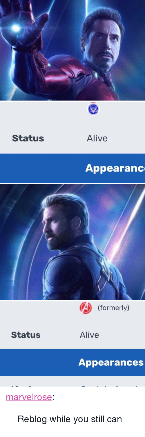 """Alive, Tumblr, and Blog: Status  Alive  Appearanc   A (formerly)  Status  Alive  Appearances <p><a href=""""https://marvelrose.tumblr.com/post/172916196846/reblog-while-you-still-can"""" class=""""tumblr_blog"""">marvelrose</a>:</p>  <blockquote><p>Reblog while you still can</p></blockquote>"""