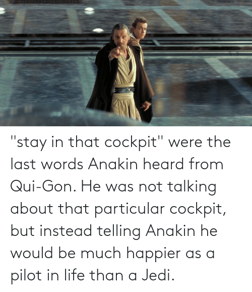 """Last Words: """"stay in that cockpit"""" were the last words Anakin heard from Qui-Gon. He was not talking about that particular cockpit, but instead telling Anakin he would be much happier as a pilot in life than a Jedi."""