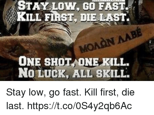 no luck: STAY LOW. GO FAST  KILL FIRST, DIE LAST.  ONE SHOT ONE KILL.  No LUCK, ALL SKILL Stay low, go fast. Kill first, die last. https://t.co/0S4y2qb6Ac