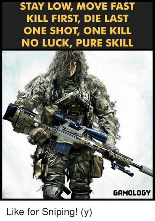 no luck: STAY LOW, MOVE FAST  KILL FIRST DIE LAST  ONE SHOT ONE KILL  NO LUCK, PURE SKILL  GAMOLOGY Like for Sniping! (y)