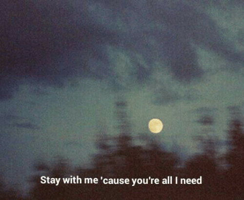All, Stay, and Youre: Stay with me 'cause you're all I need