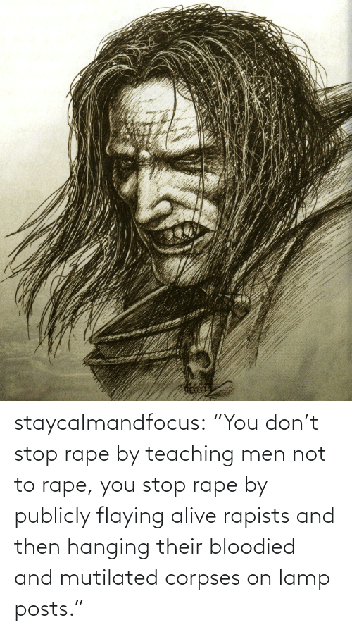 "lamp: staycalmandfocus:  ""You don't stop rape by teaching men not to rape, you stop rape by publicly flaying alive rapists and then hanging their bloodied and mutilated corpses on lamp posts."""