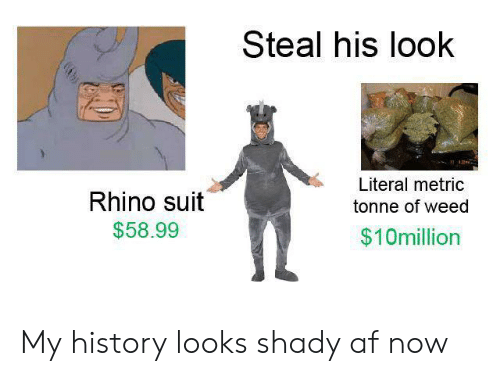 Af, Weed, and History: Steal his look  Literal metric  Rhino suit  tonne of weed  $58.99  $10million My history looks shady af now