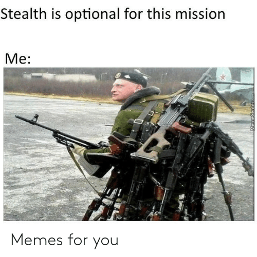Memes, Com, and Stealth: Stealth is optional for this mission  Me:  MemeCenter.com Memes for you