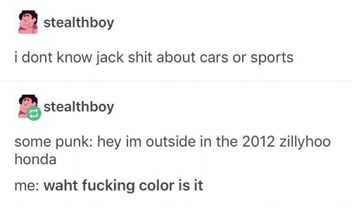 Cars, Fucking, and Honda: stealthboy  i dont know jack shit about cars or sports  stealthboy  some punk: hey im outside in the 2012 zillyhoo  honda  me: waht fucking color is it