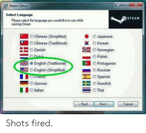 Spanish, Steam, and Chinese: Steam Setup  Select Language  OSTEAM  Please select the language you would like to use while  tunning Steam.  Chinese (Simplified)  Chinese (Traditional)  Danish  Japanese  Korean  부를 Norwegian  Polish  Portuguese  Russian  ⓜ Spanish  Swedish  English (Traditional)  English (Simplified  French  German  Italian  Tha  BackNet  Cancel Shots fired.