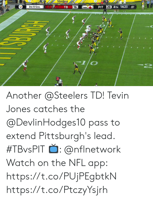 Memes, Nfl, and Goal: Steel  TB  20 4TH 14:23  2ND & GOAL  16  PIT  :07  Steelers Another @Steelers TD!  Tevin Jones catches the @DevlinHodges10 pass to extend Pittsburgh's lead. #TBvsPIT  📺: @nflnetwork Watch on the NFL app: https://t.co/PUjPEgbtkN https://t.co/PtczyYsjrh