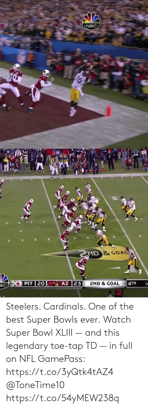 Super Bowl: Steelers. Cardinals. One of the best Super Bowls ever.  Watch Super Bowl XLIII — and this legendary toe-tap TD — in full on NFL GamePass: https://t.co/3yQtk4tAZ4 @ToneTime10 https://t.co/54yMEW238q