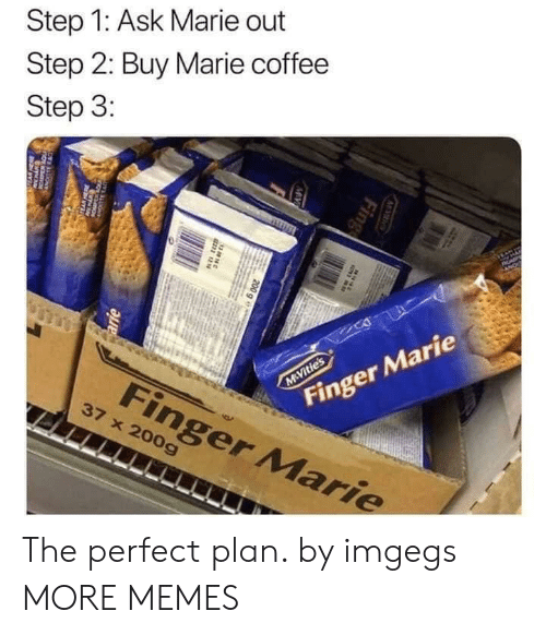 arie: Step 1: Ask Marie out  Step 2: Buy Marie coffee  Step 3:  AP  Finger Marie  M Vitie's  Finger Marie  37 x 200g  M S  Fing  MV  200 g e  38N  arie  w The perfect plan. by imgegs MORE MEMES