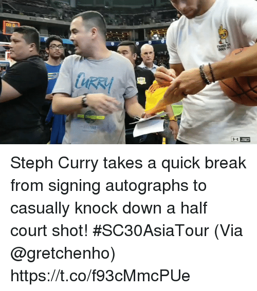 Memes, Break, and Steph Curry: Steph Curry takes a quick break from signing autographs to casually knock down a half court shot! #SC30AsiaTour   (Via @gretchenho)   https://t.co/f93cMmcPUe