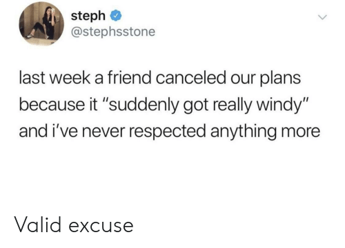 "Never, Got, and Friend: steph  @stephsstone  last week a friend canceled our plans  because it ""suddenly got really windy""  and i've never respected anything more Valid excuse"