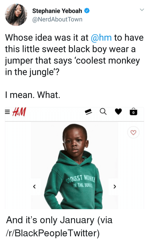 Blackpeopletwitter, Black, and Mean: Stephanie Yeboah  NerdAboutTown  Whose idea was it at@hm to have  this little sweet black boy wear a  jumper that says 'coolest monkey  in the jungle?  l mean. What.  0  OOLEST MONK  N THE JUN <p>And it&rsquo;s only January (via /r/BlackPeopleTwitter)</p>