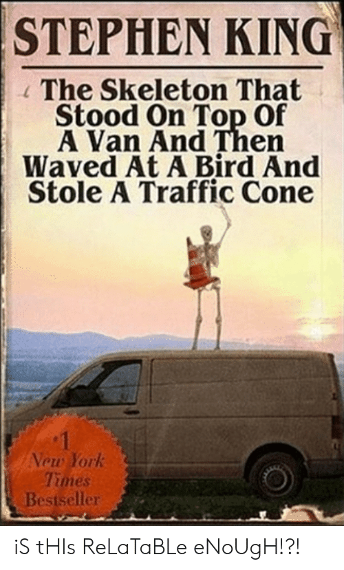 New York, Stephen, and Traffic: STEPHEN KING  The Skeleton That  Stood On Top Of  A Van And Then  Waved At A Bird And  Stole A Traffic Cone  1  New York  Times  Bestseller iS tHIs ReLaTaBLe eNoUgH!?!