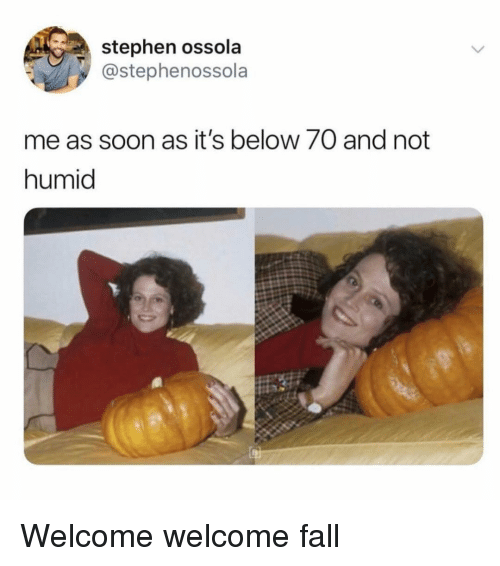 Fall, Soon..., and Stephen: stephen ossola  @stephenossola  me as soon as it's below 70 and not  humid Welcome welcome fall