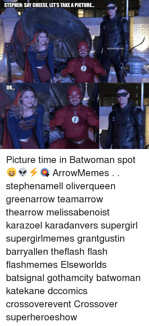 say cheese: STEPHEN: SAY CHEESE, LET'S TAKE A PICTURE...  arrowmemes  OK.. Picture time in Batwoman spot 😄👽⚡🎯 ArrowMemes . . stephenamell oliverqueen greenarrow teamarrow thearrow melissabenoist karazoel karadanvers supergirl supergirlmemes grantgustin barryallen theflash flash flashmemes Elseworlds batsignal gothamcity batwoman katekane dccomics crossoverevent Crossover superheroeshow