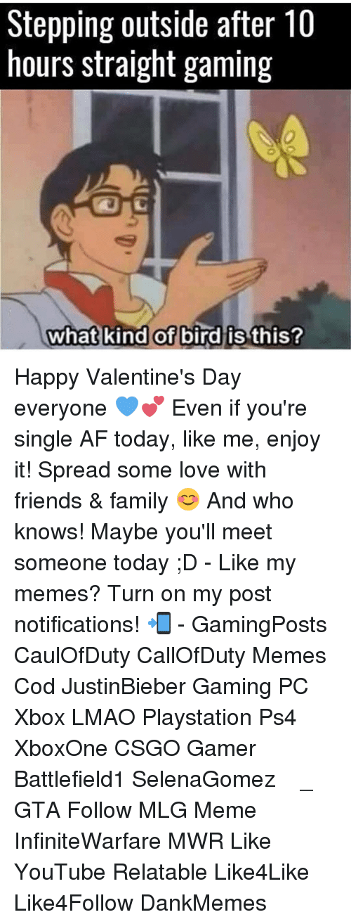 Memes, 🤖, and Gaming Pc: Stepping outside after 10  hours straight gaming  what kind of  bird is this? Happy Valentine's Day everyone 💙💕 Even if you're single AF today, like me, enjoy it! Spread some love with friends & family 😊 And who knows! Maybe you'll meet someone today ;D - Like my memes? Turn on my post notifications! 📲 - GamingPosts CaulOfDuty CallOfDuty Memes Cod JustinBieber Gaming PC Xbox LMAO Playstation Ps4 XboxOne CSGO Gamer Battlefield1 SelenaGomez بوس_ستيشن GTA Follow MLG Meme InfiniteWarfare MWR Like YouTube Relatable Like4Like Like4Follow DankMemes