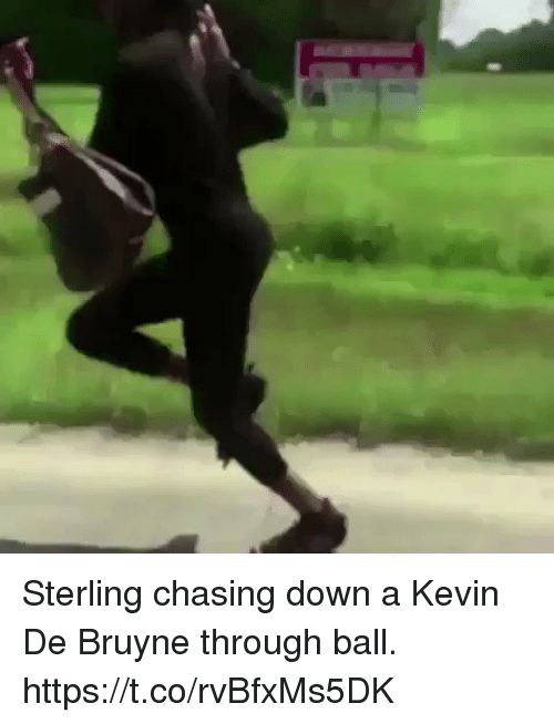 Soccer, Down, and Sterling: Sterling chasing down a Kevin De Bruyne through ball. https://t.co/rvBfxMs5DK