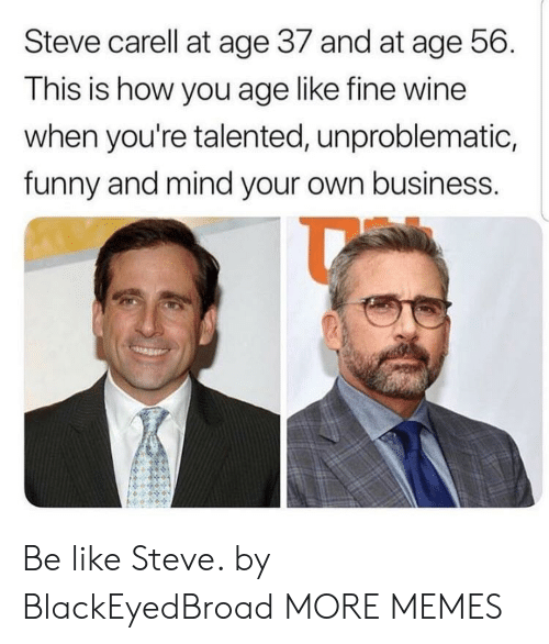 Be Like, Dank, and Funny: Steve carell at age 37 and at age 56.  This is how you age like fine wine  when you're talented, unproblematic,  funny and mind your own business. Be like Steve. by BlackEyedBroad MORE MEMES