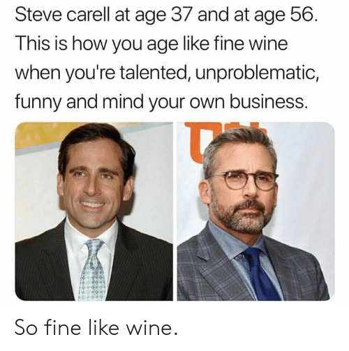 Dank, Funny, and Steve Carell: Steve carell at age 37 and at age 56.  This is how you age like tine wine  when you're talented, unproblematic,  funny and mind your own business. So fine like wine.