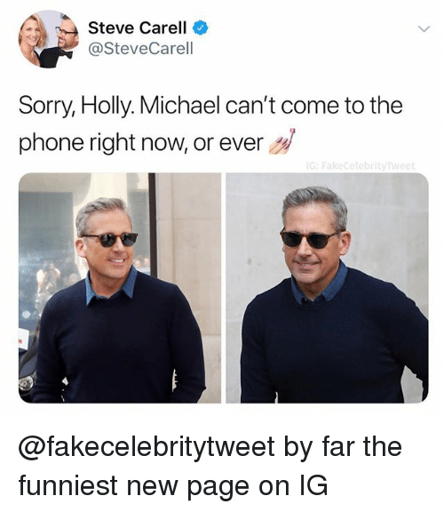 holly michael: Steve Carell  @SteveCarell  Sorry, Holly. Michael can't come to the  phone right now, or ever  G: Fakecelebrityw @fakecelebritytweet by far the funniest new page on IG