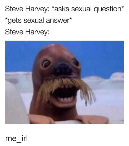 Steve Harvey, Irl, and Me IRL: Steve Harvey: *asks sexual question*  *gets sexual answer*  Steve Harvey: me_irl
