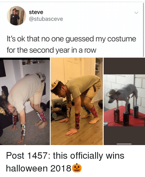 Halloween, Memes, and 🤖: steve  @stubasceve  It's ok that no one guessed my costume  for the second year in a row Post 1457: this officially wins halloween 2018🎃