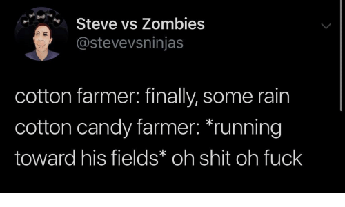 steve: Steve vs Zombies  @stevevsninjas  cotton farmer: finally, some rain  cotton candy farmer: *running  toward his fields* oh shit oh fuck