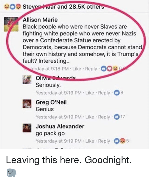 Memes, White People, and Black: Steven aar and 28.5K othe  rs  Allison Marie  Black people who were never Slaves are  fighting white people who were never Nazis  over a Confederate Statue erected by  Democrats, because Democrats cannot stand  their own history and somehow, it is Trump's  fault? Interesting..  rday at 9:18 PM Like Reply0  Seriously.  Yesterday at 9:19 PM.Like Reply 8  Greg O'Neil  Genius  Yesterday at 9:19 PM Like Reply 17  Joshua Alexander  go pack go  Yesterday at 9:19 PM. Like Reply 5 Leaving this here. Goodnight. 🐘
