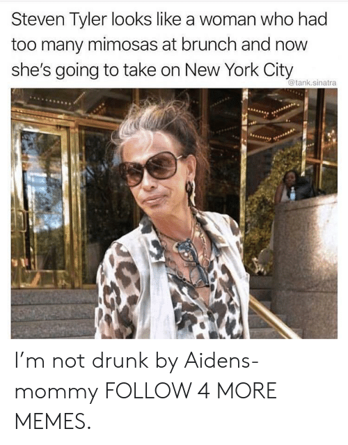 York City: Steven Tyler looks like a woman who had  too many mimosas at brunch and now  she's going to take on New York City  @tank.sinatra I'm not drunk by Aidens-mommy FOLLOW 4 MORE MEMES.