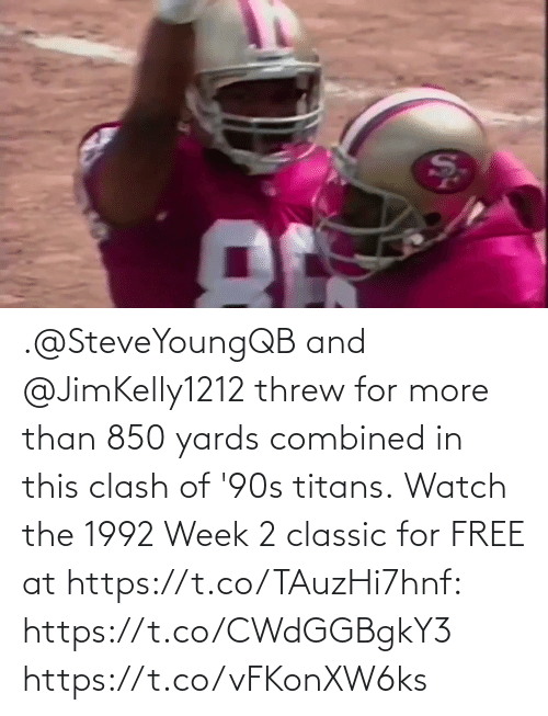 classic: .@SteveYoungQB and @JimKelly1212 threw for more than 850 yards combined in this clash of '90s titans.  Watch the 1992 Week 2 classic for FREE at https://t.co/TAuzHi7hnf: https://t.co/CWdGGBgkY3 https://t.co/vFKonXW6ks